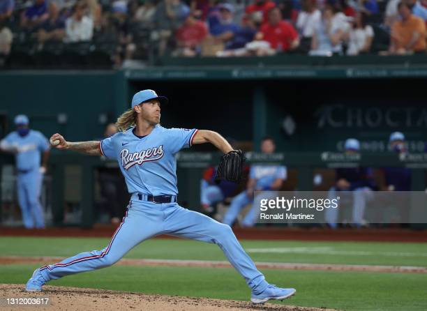 Mike Foltynewicz of the Texas Rangers throws against the San Diego Padres in the seventh inning at Globe Life Field on April 11, 2021 in Arlington,...