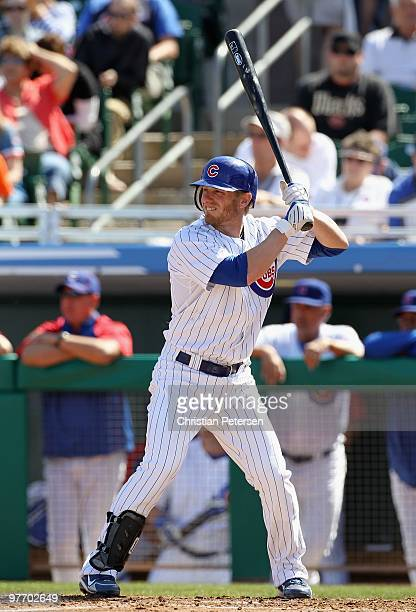 Mike Fontenot of the Chicago Cubs bats against the Oakland Athletics during the MLB spring training game at HoHoKam Park on March 4 2010 in Mesa...