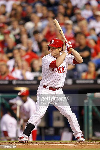 Mike Fontenot of the Philadelphia Phillies bats during the game against the Washington Nationals at Citizens Bank Park on May 23 2012 in Philadelphia...