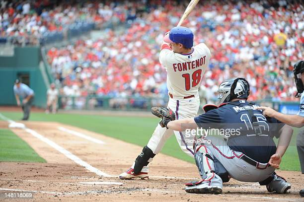 Mike Fontenot of the Philadelphia Phillies bats during the game against the Atlanta Braves on July 8 2012 at Citizens Bank Park in Philadelphia...
