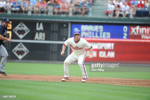Mike Fontenot of the Philadelphia Phillies runs during the game against the Atlanta Braves on July 8 2012 at Citizens Bank Park in Philadelphia...