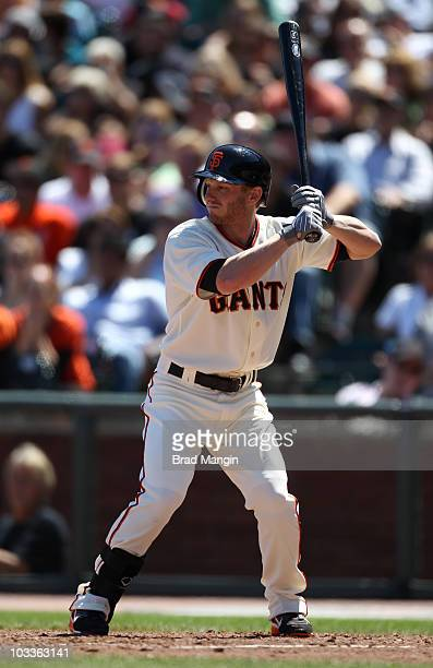 Mike Fontenot of the San Francisco Giants bats against the Chicago Cubs during the game at ATT Park on August 12 2010 in San Francisco California