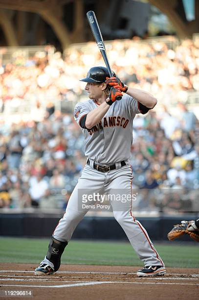 Mike Fontenot of the San Francisco Giants hits during a baseball game against the San Diego Padres at Petco Park on July 14 2011 in San Diego...