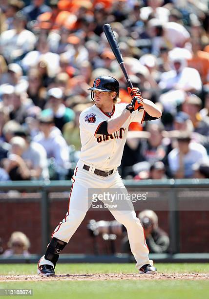 Mike Fontenot of the San Francisco Giants in action against the Atlanta Braves at ATT Park on April 24 2011 in San Francisco California