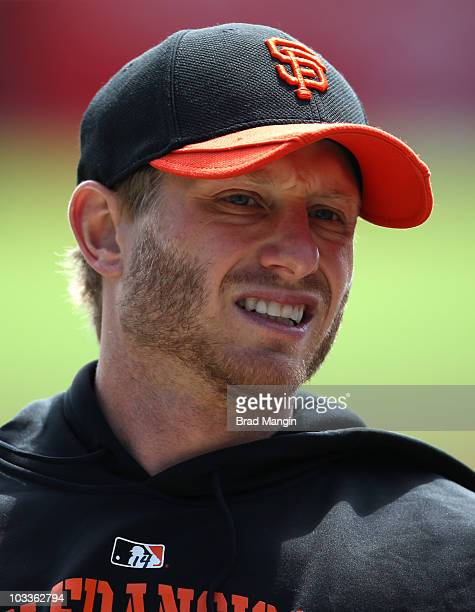 Mike Fontenot of the San Francisco Giants takes batting practice before the game against the Chicago Cubs at ATT Park on August 12 2010 in San...