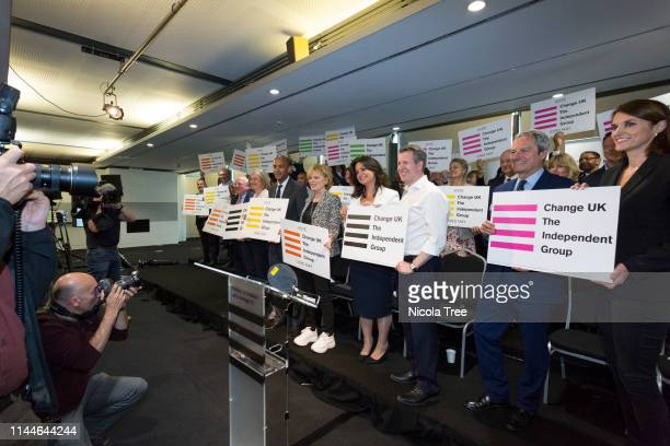 Mike Gapes Chuka Umunna Anna Soubry Heidi Allen Chris Lesley Gavin Esler and Andrea Cooper at the launch of Change UK The Independent Group's...