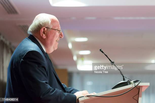 Mike Gapes MP speaking at Change UK The Independent Group's West Midlands election rally on May 10 2019 in Birmingham United Kingdom