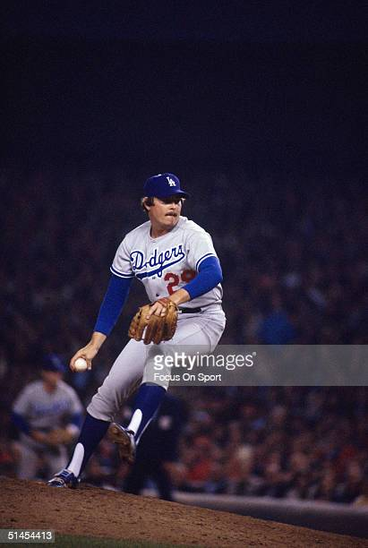 Mike Garman of the Los Angeles Dodgers pitches against the New York Yankees during the World Series at Yankee Stadium in Bronx NY in October of 1977