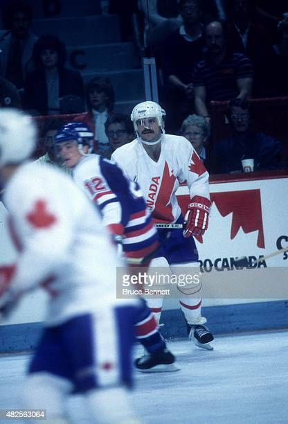 Mike Gartner of Team Canada skates on the ice during the 1984 Canada Cup game against Team USA on September 3 1984 at the Montreal Forum in Montreal...