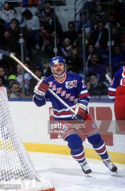 Mike Gartner of the New York Rangers skates on the ice during an NHL game against the New York Islanders on December 28 1991 at the Nassau Coliseum...
