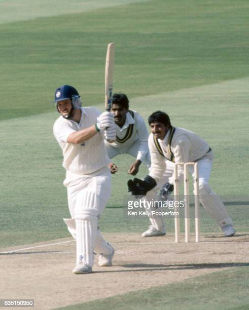 Mike Gatting batting for England during his innings of 124 in the 4th Test match between England and Pakistan at Edgbaston Birmingham 25th July 1987...
