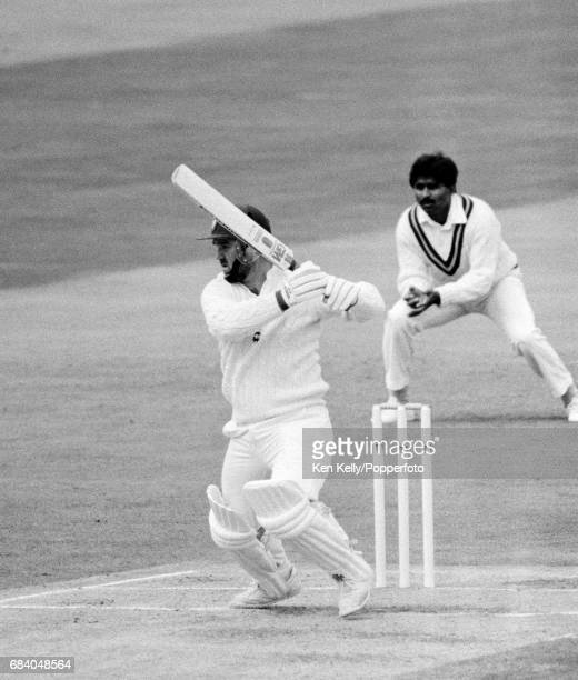 Mike Gatting batting for England during the 4th Test match between England and Pakistan at Edgbaston Birmingham 25th July 1987 The fielder for...