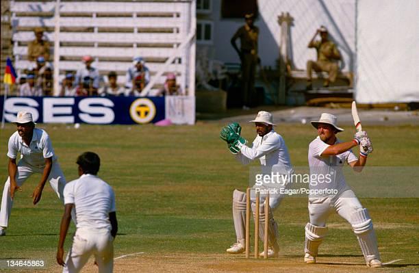 Mike Gatting hits Sivaramakrishnan during his second innings 136, India v England, 1st Test, Bombay, November 1984.