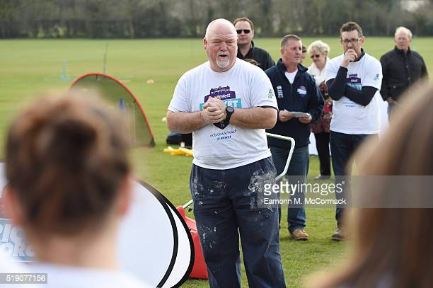 Mike Gatting lends a hand as part of NatWest CricketForce 2016 at Bedford CC on April 3 2016 in Bedford England