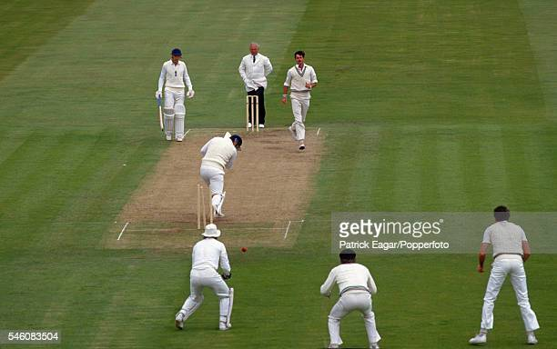 Mike Gatting of England is bowled by Richard Hadlee of New Zealand for 17 runs during the 2nd Test match between England and New Zealand at Trent...