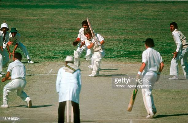 Mike Gatting playing Abdul Qadir Pakistan v England 3rd Test Karachi Jan 197778