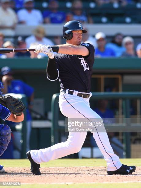 Mike Gerber of the Detroit Tigers bats during the Spring Training game against the Toronto Blue Jays at Publix Field at Joker Marchant Stadium on...