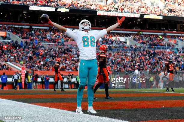 Mike Gesicki of the Miami Dolphins celebrates after catching a pass for a touchdown during the third quarter of the game against the Cleveland Browns...