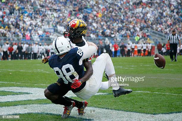 Mike Gesicki of the Penn State Nittany Lions draws a pass interference penalty in the end zone against Darnell Savage Jr #26 of the Maryland...