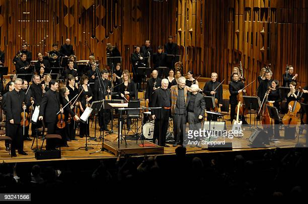 Mike Gibbs , Joey Baron and Bill Frisell perform on stage at The Barbican with the BBC Symphony Orchestra as part of the London Jazz Festival 2009 on...