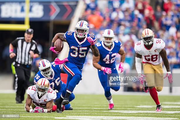 Mike Gillislee of the Buffalo Bills carries the ball during the second half against the San Francisco 49ers on October 16 2016 at New Era Field in...