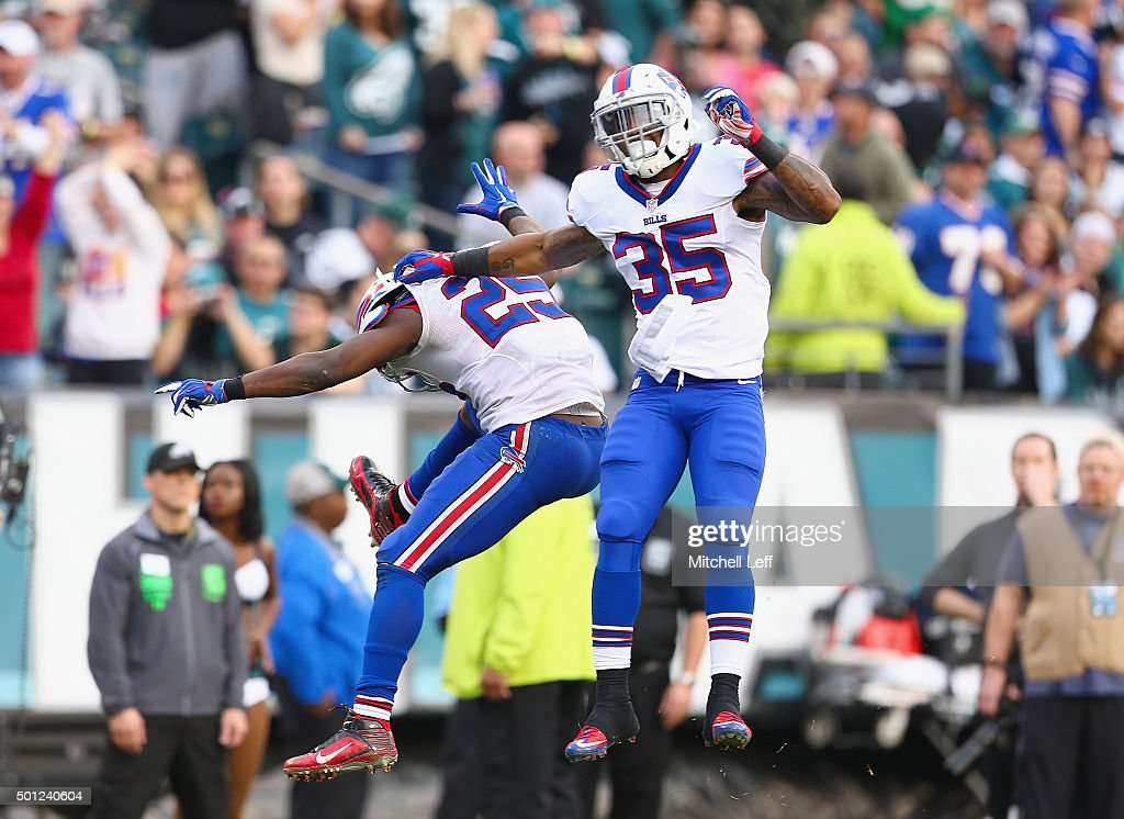 Mike Gillislee #35 of the Buffalo Bills celebrates his touchdown with teammate LeSean McCoy #25 against the Philadelphia Eagles in the third quarter at Lincoln Financial Field on December 13, 2015 in Philadelphia, Pennsylvania.