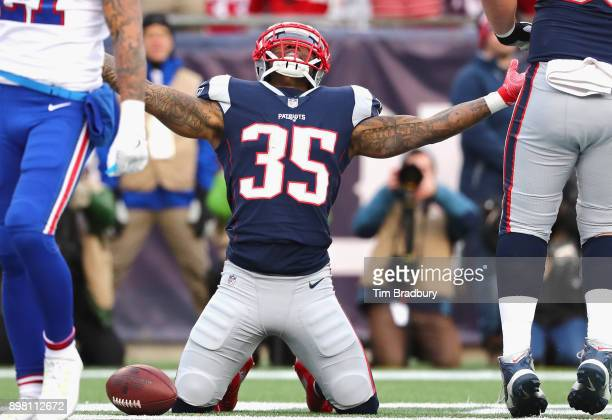 Mike Gillislee of the New England Patriots reacts after scoring a touchdown during the third quarter of a game against the Buffalo Bills at Gillette...