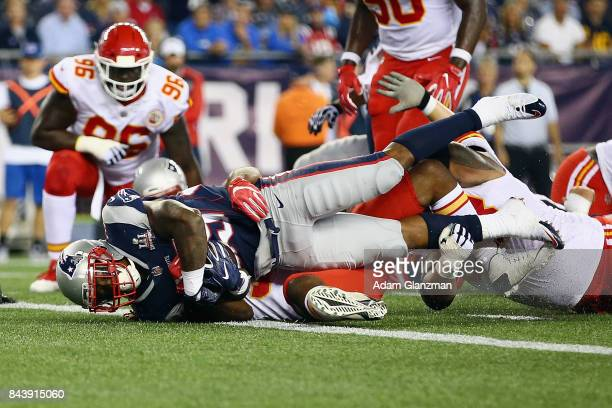 Mike Gillislee of the New England Patriots scores a touchdown during the second quarter against the Kansas City Chiefs at Gillette Stadium on...