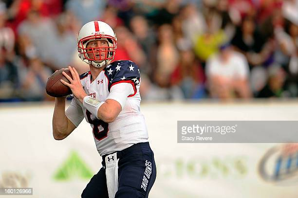 Mike Glennon of the North squad drops back to pass against the South squad during the Senior Bowl at Ladd Peebles Stadium on January 26 2013 in...