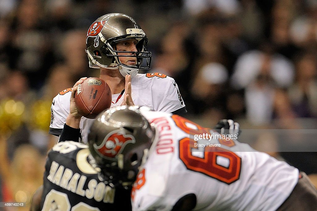 Mike Glennon #8 of the Tampa Bay Buccaneers looks for an open receiver against the New Orleans Saints during a game at the Mercedes-Benz Superdome on December 29, 2013 in New Orleans, Louisiana. New Orleans won the game 42-17.