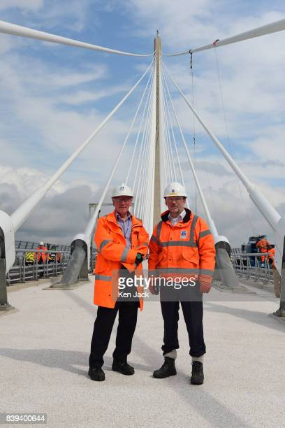 Mike Glover Technical Director Jacob Arup Joint Venture and senior site engineer John Redpath on the new Queensferry Crossing Road Bridge over the...