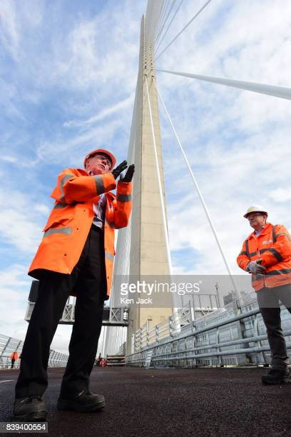 Mike Glover Technical Director Jacob Arup Joint Venture gives a briefing on the construction of the new Queensferry Crossing Road Bridge over the...