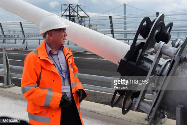 Mike Glover Technical Director Jacob Arup Joint Venture gives a briefing on the cable anchor points of the new Queensferry Crossing Road Bridge over...