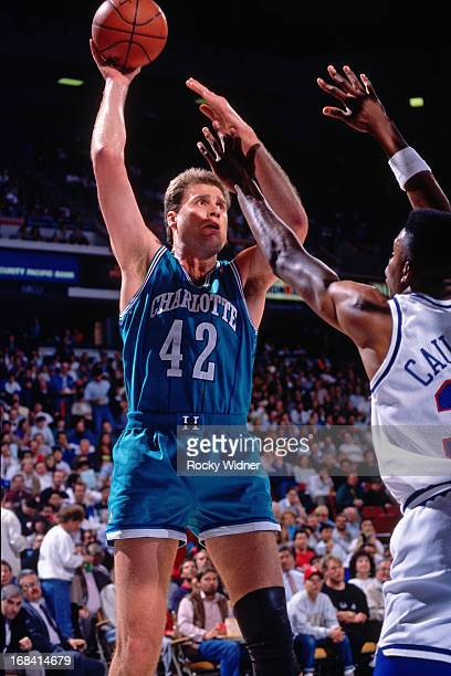 Mike Gminski of the Charlotte Hornets shoots the ball against the Sacramento Kings during a game played on February 27 1991 at Arco Arena in...