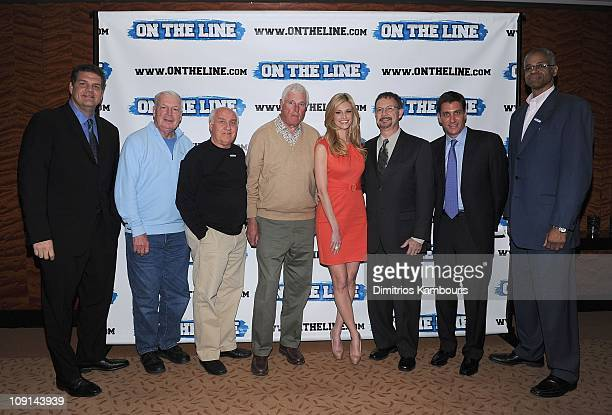 Mike Golic Digger Phelps Billy Packer Bob Knight Erin Andrews Steven Andrews and Len Elmore attend the On The Line prostate cancer initiative...
