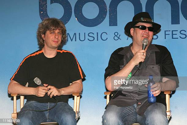 Mike Gordon and John Popper during Bonnaroo 2006 Day 2 Press Conference in Manchester Tennessee United States