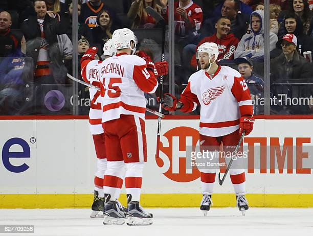 Mike Green of the Detroit Red Wings celebrates his second goal of the game at 1440 of the second period against the New York Islanders at the...