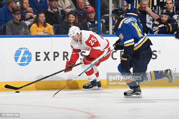 Mike Green of the Detroit Red Wings controls the puck against the St Louis Blues on October 27 2016 at Scottrade Center in St Louis Missouri