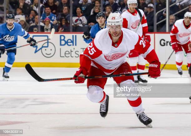 Mike Green of the Detroit Red Wings follows the play down the ice during third period action against the Winnipeg Jets at the Bell MTS Place on...