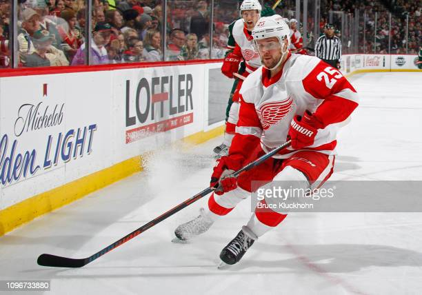 Mike Green of the Detroit Red Wings follows the play during a game with the Minnesota Wild at Xcel Energy Center on January 12 2019 in St Paul...