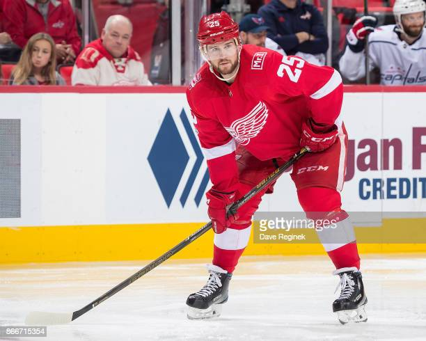 Mike Green of the Detroit Red Wings gets set for the faceoff against the Washington Capitals during an NHL game at Little Caesars Arena on October 20...