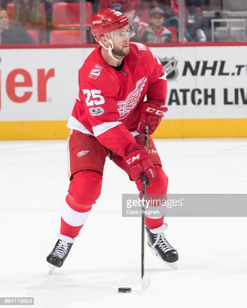 Mike Green of the Detroit Red Wings looks to make a pass during an NHL game against the Washington Capitals at Little Caesars Arena on October 20...