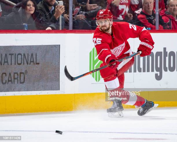 Mike Green of the Detroit Red Wings passes the puck against the Los Angeles Kings during an NHL game at Little Caesars Arena on December 10 2018 in...