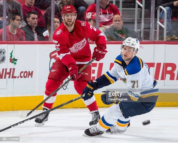 Mike Green of the Detroit Red Wings shoots the puck past Vladimir Sobotka of the St Louis Blues during an NHL game at Little Caesars Arena on...