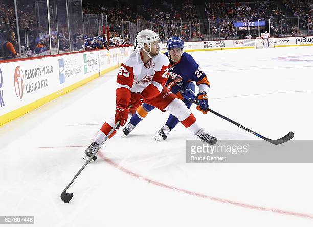 Mike Green of the Detroit Red Wings skates against the New York Islanders at the Barclays Center on December 4 2016 in the Brooklyn borough of New...