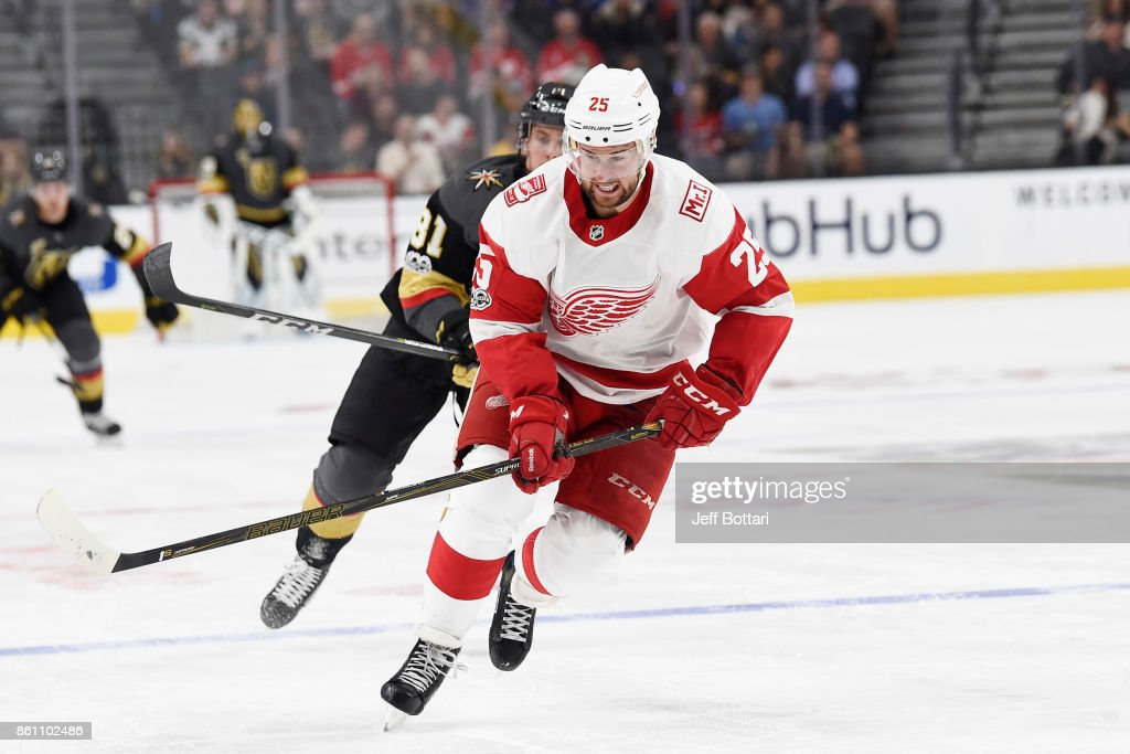 Mike Green #25 of the Detroit Red Wings skates to the puck against the Vegas Golden Knights during the game at T-Mobile Arena on October 13, 2017 in Las Vegas, Nevada.