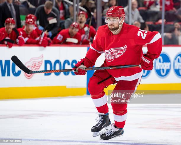 Mike Green of the Detroit Red Wings skates up ice against the Los Angeles Kings during an NHL game at Little Caesars Arena on December 10 2018 in...