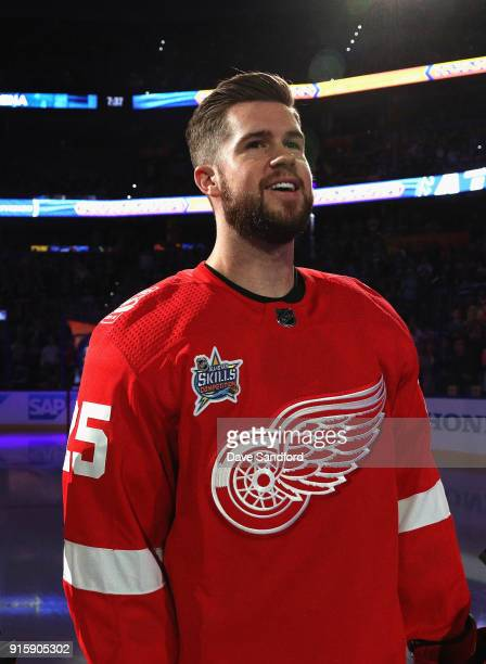 Mike Green of the Detroit Red Wings stands on the ice before the 2018 GEICO NHL AllStar Skills Competition at Amalie Arena on January 27 2018 in...