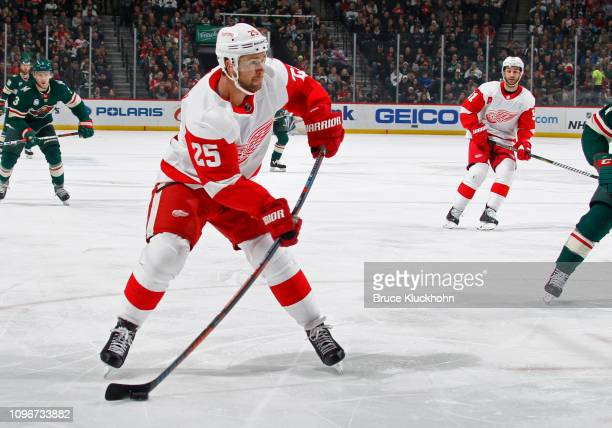 Mike Green of the Detroit Red Wings takes a shot on goal during a game with the Minnesota Wild at Xcel Energy Center on January 12 2019 in St Paul...