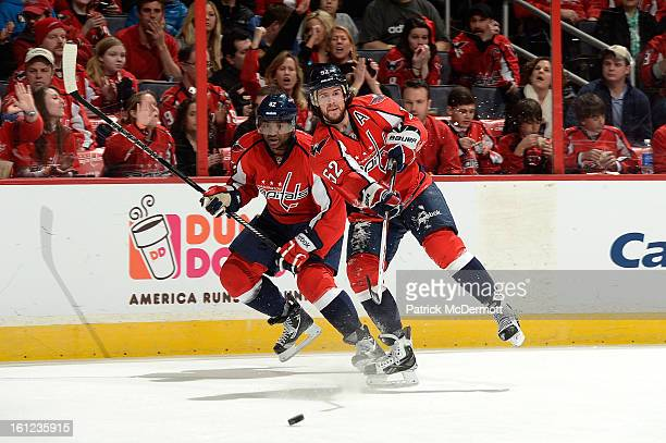 Mike Green of the Washington Capitals passes up ice during the second period of an NHL hockey game against the Florida Panthers at Verizon Center on...